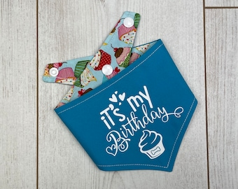 Reversible blue 'it's my Birthday' Dog Bandana with a gorgeous cup cake fabric.