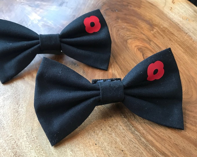 Featured listing image: Handmade Remembrance Day Dog Bow Ties in Black with Red Poppy