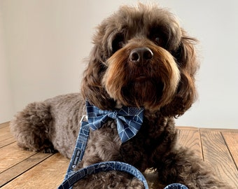 Dog Collar and Lead in a Blue Geometric Fabric with Silver hardware / dog collar and lead set