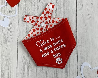 Red Love is... reversible dog Bandana