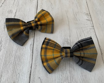 Handmade Dog Bow Tie in Mustard Yellow and Grey Tartan