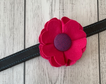 Hot Pink Dog Collar Flower in a wool felt fabric with a herringbone button