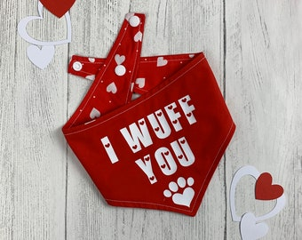 I wuff you vinyl print double sided dog Bandana