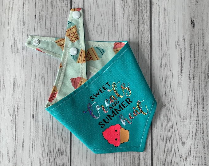 Featured listing image: Reversible dog bandana / summer dog bandana / Turquoise and ice cream fabric / sweet treats and summer heat
