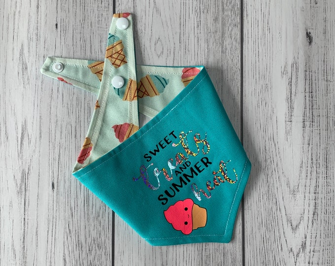 Featured listing image: Reversible dog bandana / summer dog bandana / Turquoise and ice cream fabric / sweet treats and summer heat