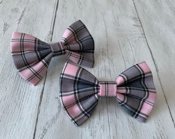 Handmade Dog Bow Tie in Pastel Pink and Grey Tartan