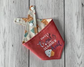 Reversible dog bandana / summer dog bandana / Coral Pink and ice cream fabric / sweet treats and summer heat