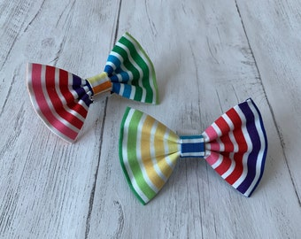 Handmade Dog Bow Ties in a gorgeous Rainbow Stripe Fabric.