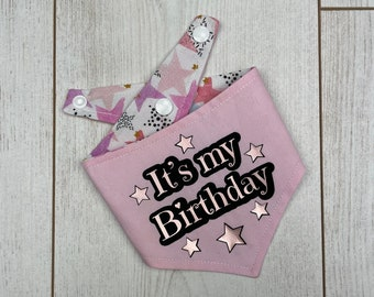 Birthday Dog Bandana in a pastel pink and multicoloured Stars fabric