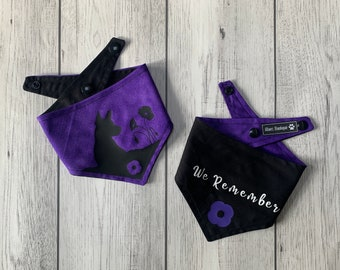 Purple Animal Remembrance Dog Bandana with silhouette and Lest we Forget Text