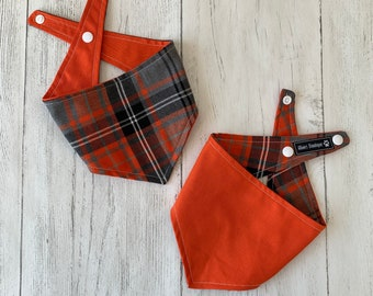 Orange and Grey Tartan Dog Bandana with a popper fastening