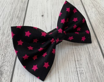 Black and Pink Stars Dog Bow Tie