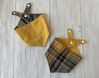 Mustard Yellow and Grey Tartan Dog Bandana with a popper fastening