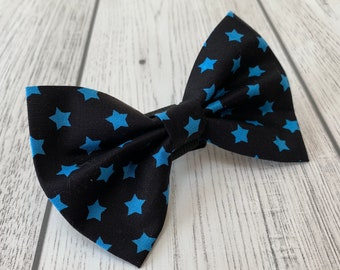 Black and Blue Stars Dog Bow Tie