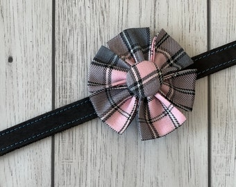 Pastel Pink and Grey Tartan Dog Collar Flower