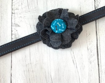 Grey Fleck Dog Collar Flower in a wool felt fabric with a matching bones fabric button centre