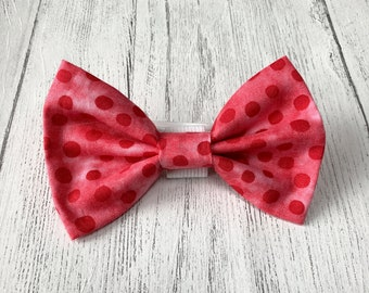 Handmade Red Spot Dog Bow Tie