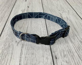 Blue Geometric Dog Collar with Silver hardware / dog collar and lead set