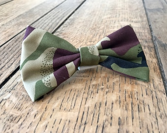 Handmade Dog Bow Tie in Green Army Camouflage Fabric