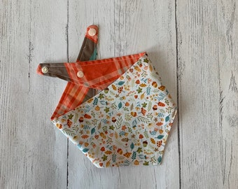 Woodland Motifs and Autumn Tartan double sided Dog Bandana with a popper fastening