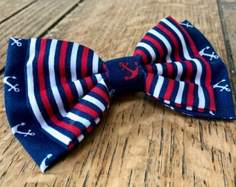 Handmade Double Dog Bow Tie in 'Ships Ahoy' Stripe and Anchor Fabric in Navy, Red and White