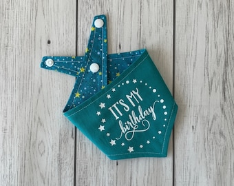 It's my Birthday vinyl print double sided dog Bandana in teal blue with a teal, yellow and white stars fabric.