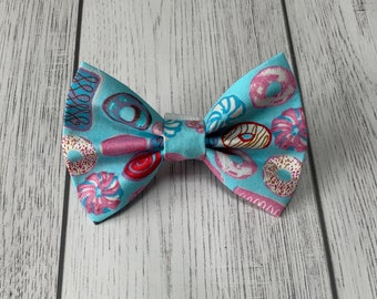 Handmade Dog Bow Tie with Donuts fabric