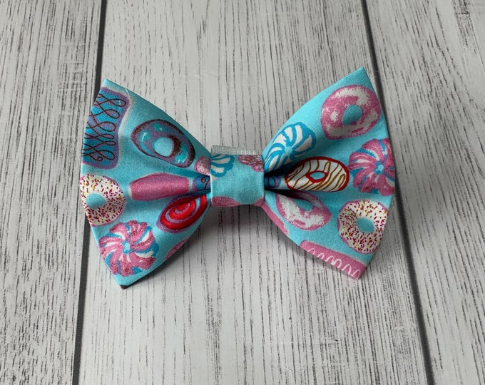 Featured listing image: Handmade Dog Bow Tie with Donuts fabric