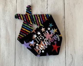 Birthday Dog Bandana in Black Stars and rainbow stripe fabric.