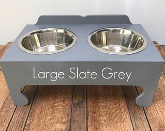 Handmade Double Bowl Raised Pet Feeding Stations (Large)