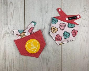 Double Sided 'Be Mine' Love Hearts Dog Bandana