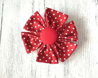 Red Polka Dot Fabric Dog Collar Flower