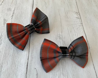 Handmade Dog Bow Tie in Orange and Grey Tartan