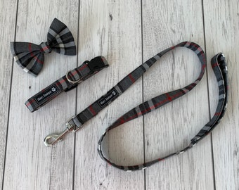 Dog Collar and Lead in a fabulous grey and red tartan fabric  / dog collar and lead set