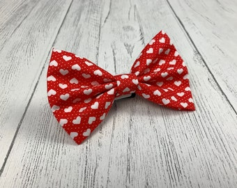 Valentines Dog Bow Tie in gorgeous red with white hearts fabric.