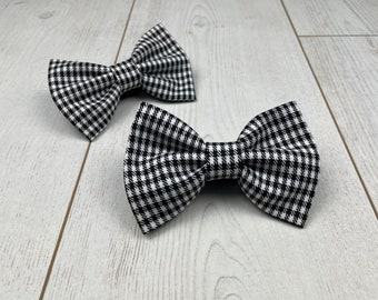 Handmade Dog Bow Ties in Black and White Houndstooth Check