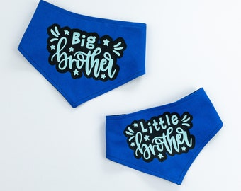 Big Brother Reversible Dog Bandana in Bright Blue and Black Stars Fabric