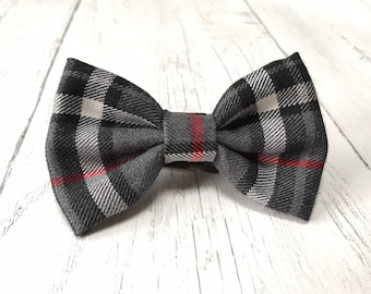 Handmade Dog Bow Tie in Albies Signature Grey and Red Tartan