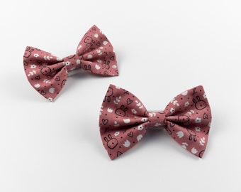 Dog Bow Tie in a blush pink spring bunny fabric