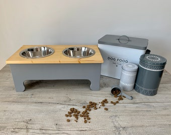 Large Double Bowl Pine Topped Raised Dog Feeding Station