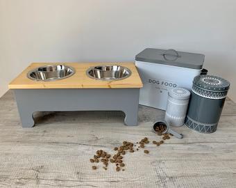 Large Double Bowl Pine Topped Raised Dog Feeding Station