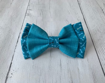 Double Dog Bow in Teal textured Fabric with complimentary Teal bone Fabric.