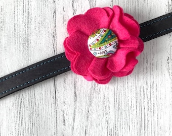 Pink and Paisley Dog Collar Flower in a wool felt fabric