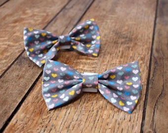 Handmade Dog Bow Tie in grey and pastel heart design fabric