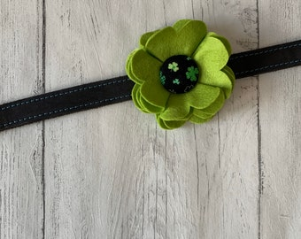 Lime Green St Patricks Day Collar Flower in a wool felt fabric with a black and green shamrock fabric button centre