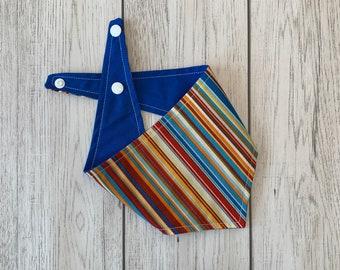 Reversible Bandana in Bright Blue and Orange  Summer Stripe.