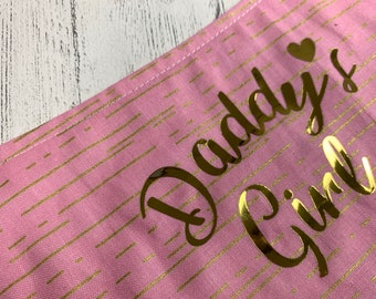 Daddy's Girl pink and gold metallic reversible Dog Bandana