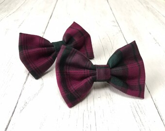 Handmade Dog Bow Tie in Albies Signature Raspberry and Green Tartan