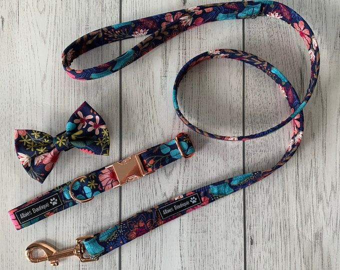 Featured listing image: Dog Collar and Lead in a Gorgeous navy, pink and turquoise floral fabric with Rose Gold hardware / dog collar and lead set