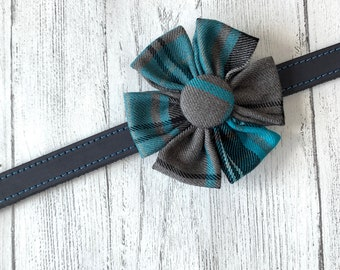 Teal Tartan Dog Collar Flower